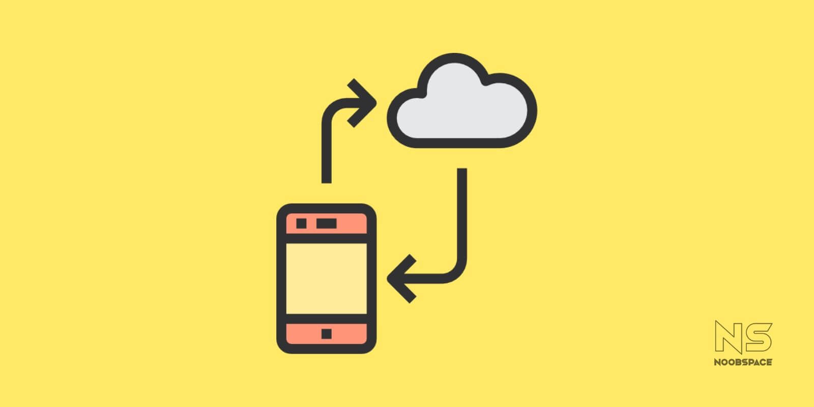 An illustration of a cloud and a smartphone in sync