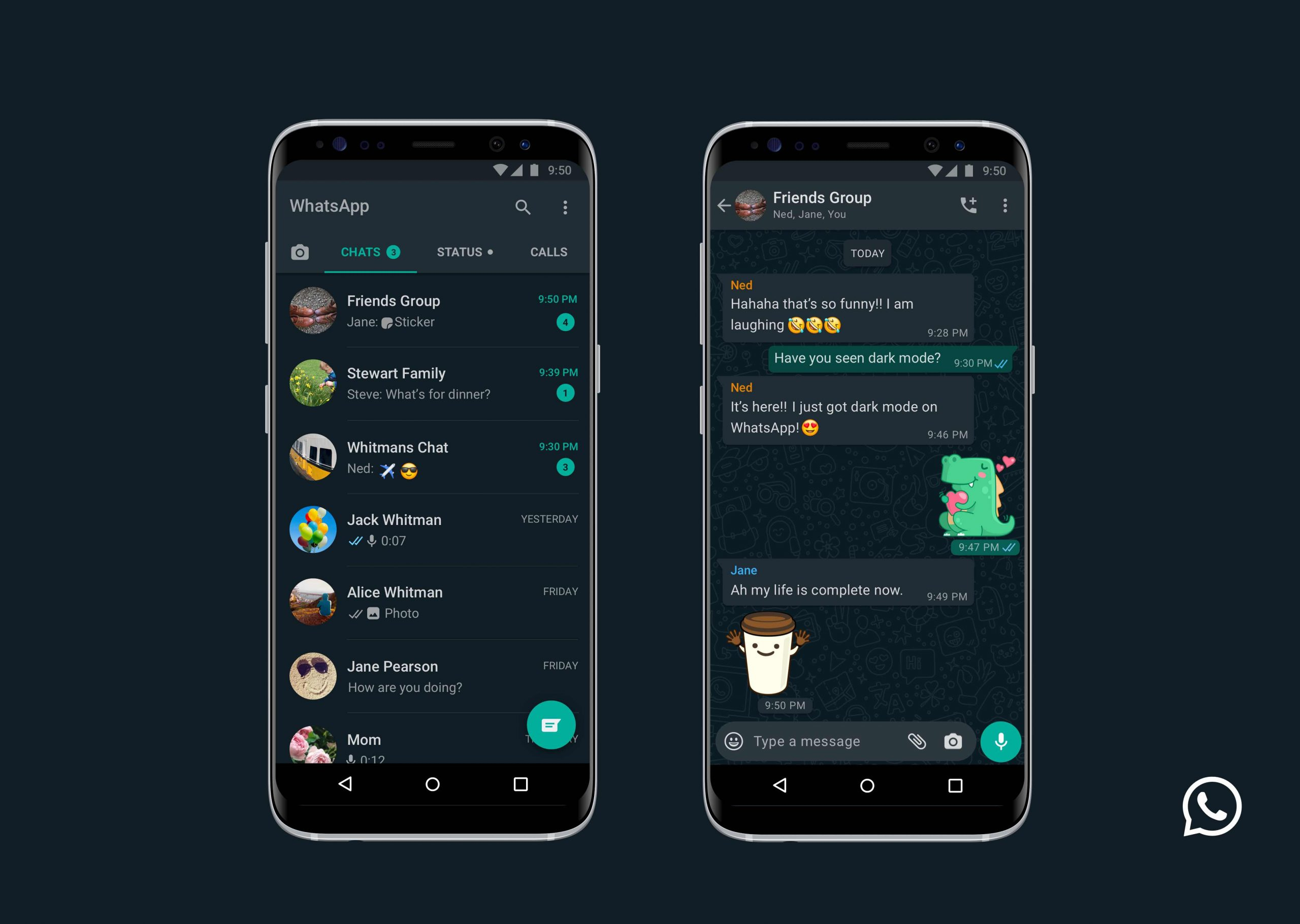 whatsapp dark mode for Android and iOS