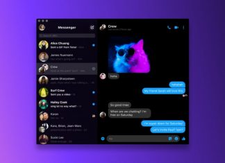 Fb Messenger on macOS desktop in dark mode