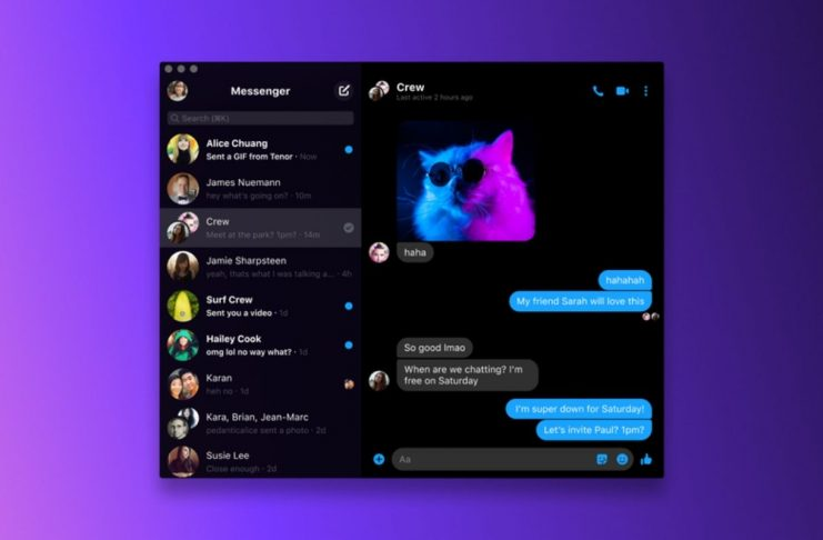 Fb Messenger on macOS desktop in dark mode