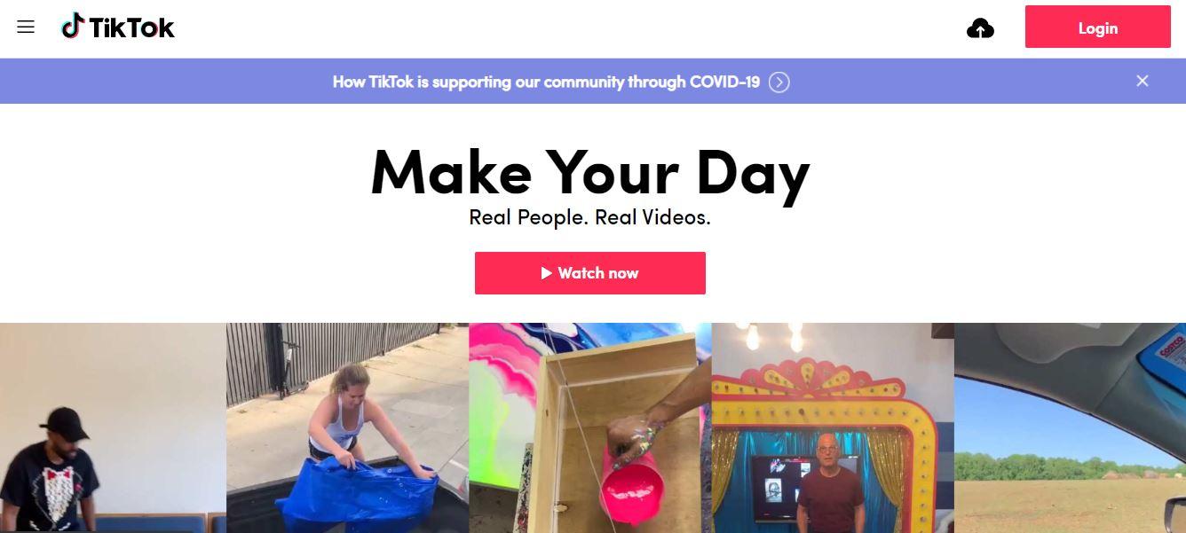 TikTok website homepage
