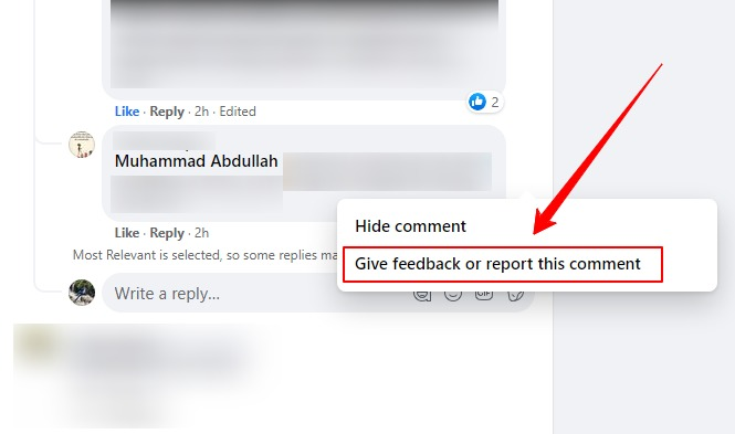 report comment screenshot